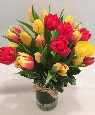 yellow and red tulips bouquet